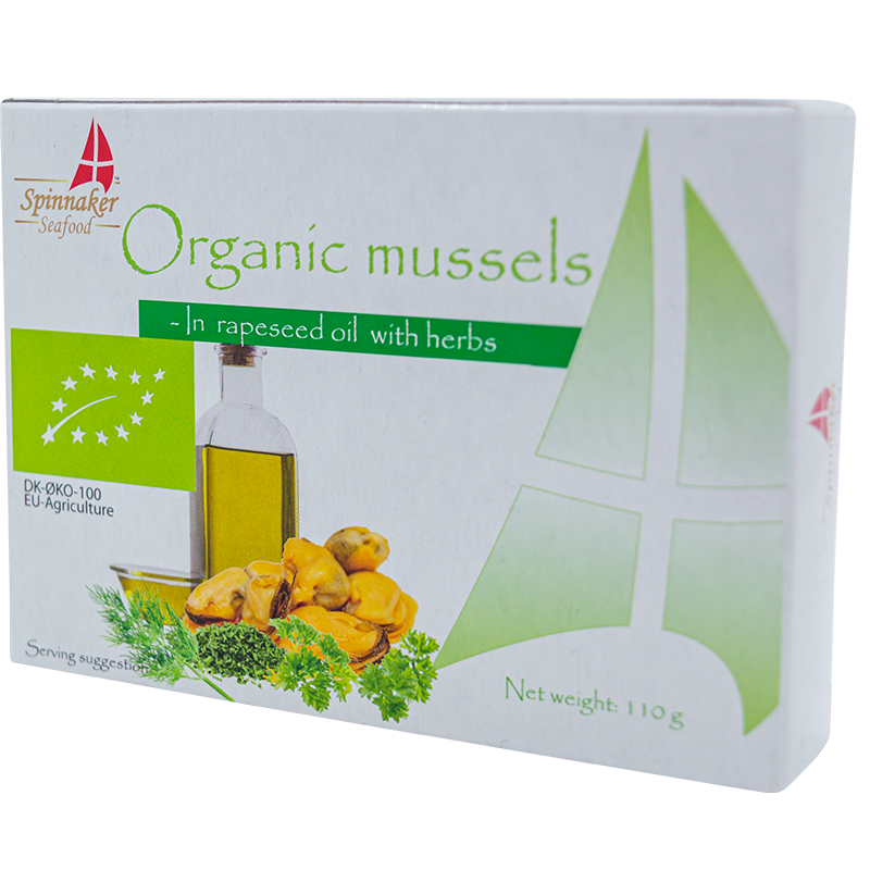 Spinnaker BIO mussels in organic rapeseed oil with herbs